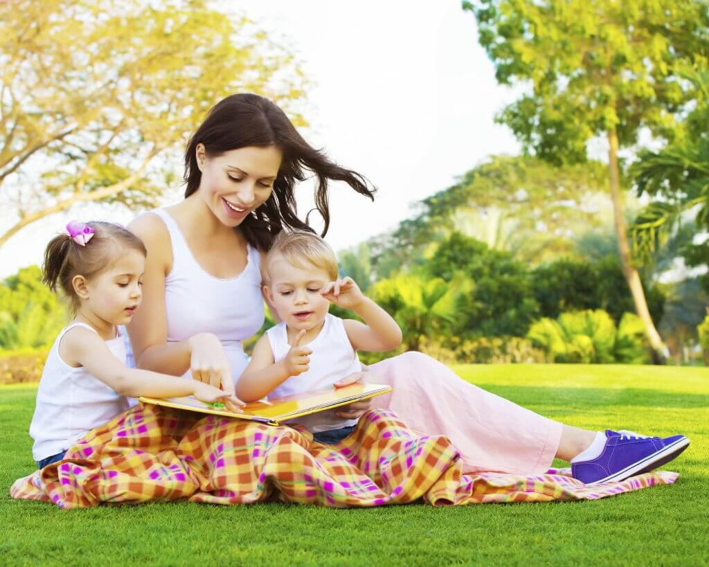 with children in garden